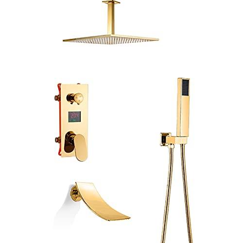 GLYYRLR Sistema de Ducha Oro Pantalla LED Conjunto de Ducha con Cascada Caño de Bañera, Latón Monomando Montado en el Techo Columna de Ducha con Alcachofa de Ducha, Ducha de Mano,10 Inch