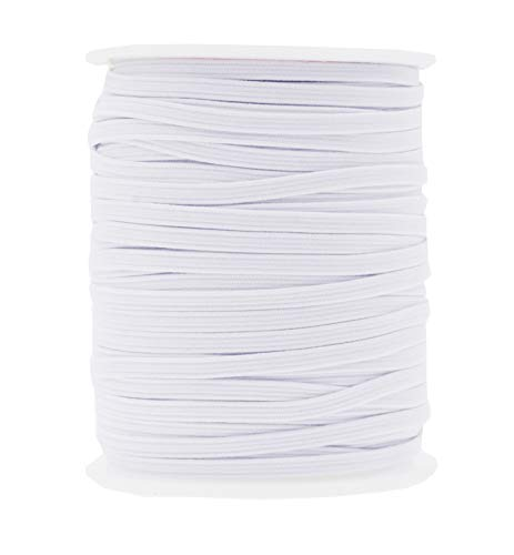 Mandala Crafts Flat Elastic Band, Braided Stretch Strap Cord Roll for Sewing and Crafting; 1/8 inch 3mm 50 Yards White