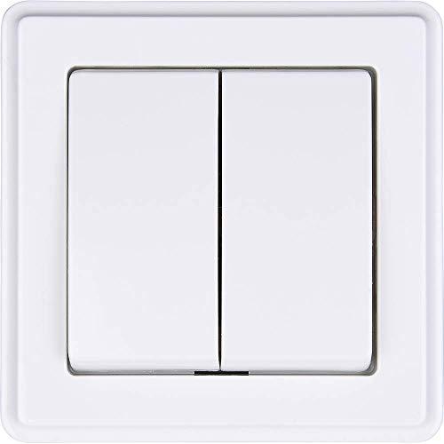 HEITECH 2fach Serienschalter in weiß - 2er Unterputz Schalter 250V AC, 10A, IP20 inkl Rahmen, Unterputz-Einsatz & Abdeckung -Lichtschalter Doppelschalter Wippschalter Doppelwippe Unterputzschalter