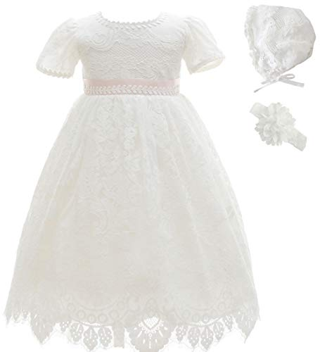 Ahaha - Vestido largo de bautizo para niña, para ocasiones especiales, bautizos, con sombrero y cinta para la frente Blanco 3 12-16 meses