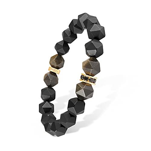 AWNL Pulsera de energía para hombre, chakra negro, ónix y obsidiana dorada, estilo elástico