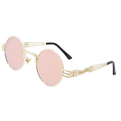 AMZTM Gafas de Sol Retro Steampunk Reflejado Gafas Redondo Vendimia Hippie para Mujer Y Hombre Lente Polarizada Marco de Metal Protección UV 400 (dorado Cuadro Rosado Lente, 49)