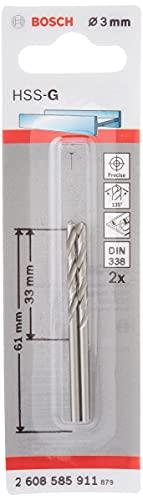Bosch Professional Metallbohrer HSS-G geschliffen (2 Stück, Ø 3 mm)