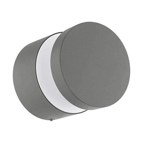 EGLO LED Außen-Wandlampe Melzo, 1 flammige Außenleuchte, Wandleuchte aus Aluguss und Kunststoff, Farbe: Silber, IP44
