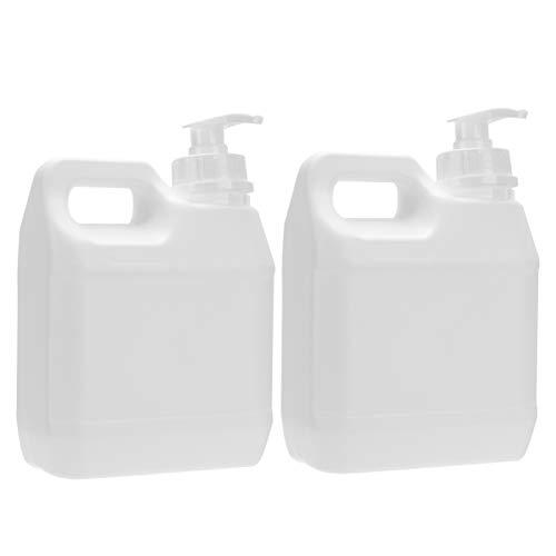 Cabilock 2Pcs 1L Dispensador de Botellas de Bomba Vacía Botellas de Bomba de Líquido Recargables de Plástico Cosméticos Líquidos Contenedor de Almacenamiento de Productos Químicos (Blanco)