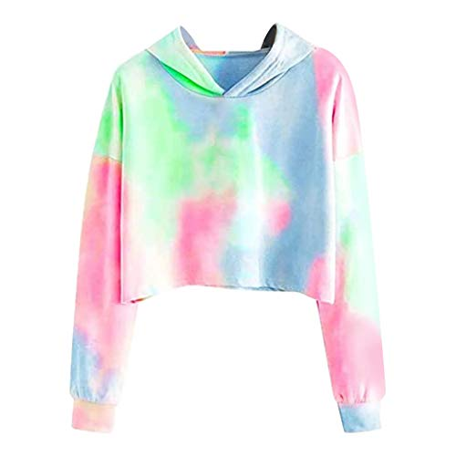 Sauahy Tops for Womens Long Sleeve Hoodie Pullover SweatshirtTie-dye Print Blouse Casual New Selling Fashion Shirt