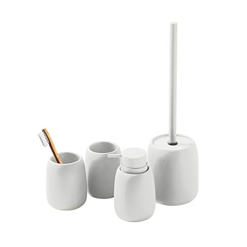 LUX LOVE LIFE LUXURY Bathroom Accessories Set | Bath Set Collection | 4 Pc Set Includes Soap Dispenser, Toothbrush Tumbler, Tumbler & Toilet Brush Holder | White Sand Color
