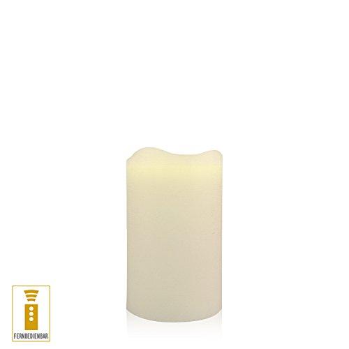 Lichtdekor LED Echtwachskerze 7,5 x 12 cm Timer Fernbedienung Elfenbein