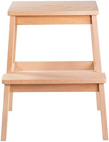QTQZDD kruk beuken voetensteun ladder opstap twee stappen schoen bank lage kruk (blanke lak)