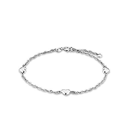 amor Armband für Damen 19 cm mit Herz-Anhängern 925 Silber rhodiniert