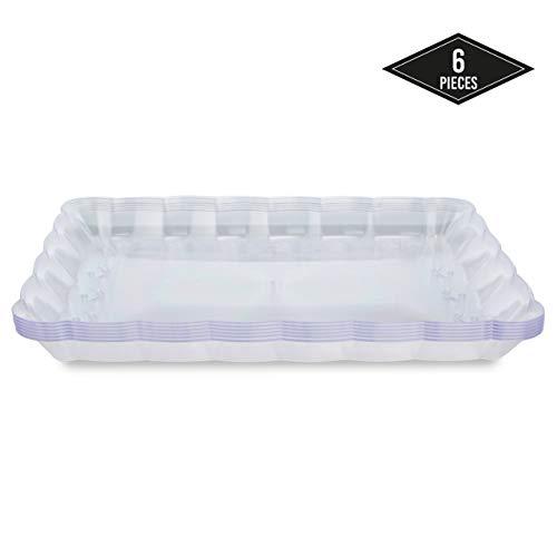 6 Elegante Plastica Dura Vassoi da Portata Rettangolari, 32,4 x 23,8 cm - Monouso e Riutilizzabile Vassoi per Feste - Perfetto per Feste, Funzioni, Buffet, Catering.