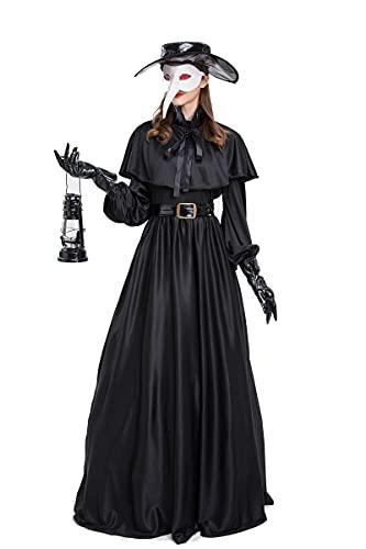 Feynman Disfraz medieval Steampunk de Pest para mujer, disfraz de mdico, Halloween, con pestdoctor, accesorio de accesorios, color negro, M
