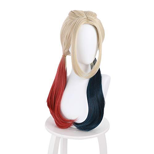 KEEPINE Harley Quinn Perücke The Suicide Squad Cosplay Perücke langes Kunsthaar Halloween Rollenspiel COS Requisiten für Frauen Mädchen (65 cm)