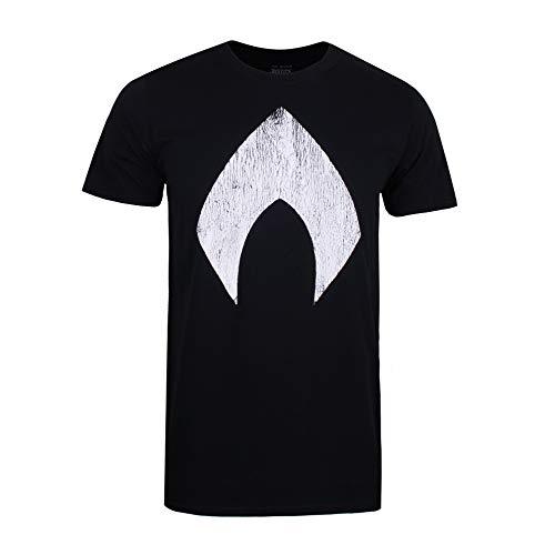 DC Comics Aquaman Logo Camiseta, Negro (Black Blk), Small para Hombre