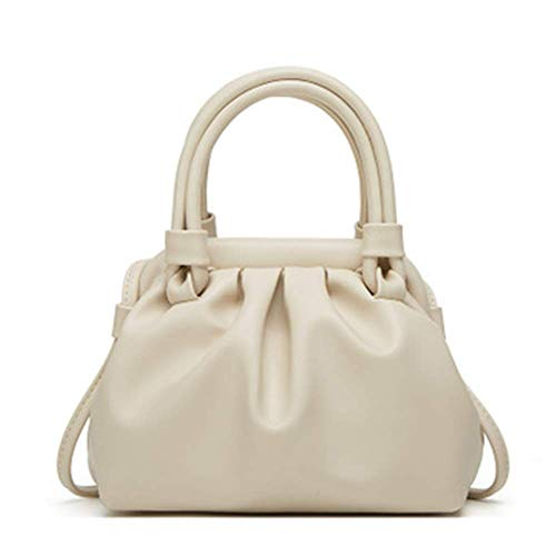 XYAZ Women's fashion solid color all-match PU portable cloud bag casual one-shoulder diagonal small bag,white
