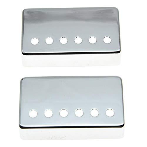 KAISH - Juego de 2 fundas para pastilla de guitarra Humbucker (latón, 49,2 mm/52 mm, para la mayoría de Gibson Les Paul, cromo/negro/dorado)