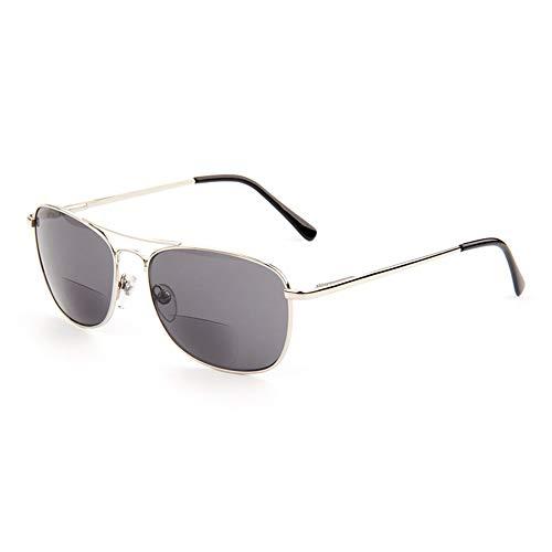 MANG Bifokal Lesebrille Lesehilfe Retro Pilotenbrille Gleitsichtbrille Mit Sehstärke Sehhilfe Grau Linse Brille Unisex Sonnenbrille Computerbrille