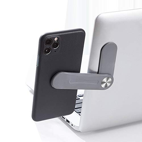 Adjustable Laptop Side Mount Clip Laptop Phone Holder on Monitor Magnetic Laptop Stand Computer Monitor Expansion Bracket for 4-8 Inches iPhone Smartphone Slim Portable Dark Grey colour