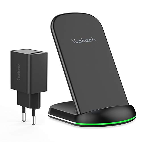 yootech Wireless Charger,10W Wireless Ladestation mit QC 3.0 Adapter Induktives Ladegerät für alle qi Handy wie iPhone 11/11 Pro/11 Pro Max/XS MAX/XR/XS/X/8/8 Plus,Galaxy S10/S10 Plus/S10E/S9/S8 usw.