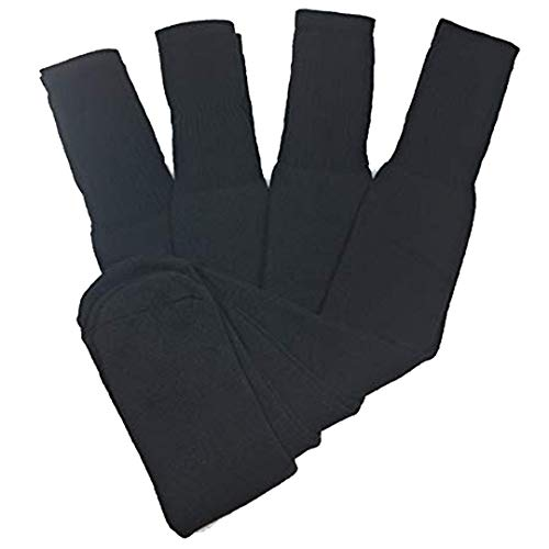 4 Pairs, Mens Big and Tall Sports Tube Socks Long Over the Calf - 26 inches (Black)