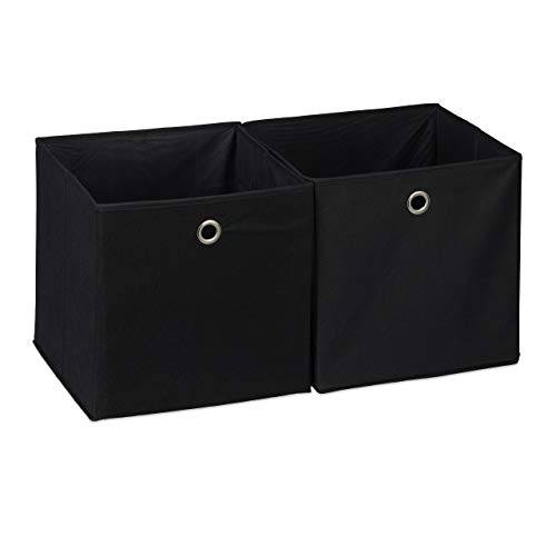 Relaxdays Aufbewahrungsbox 2er Set, quadratisch, Aufbewahrung für Regal, Stoffbox in Würfelform 30x30x30 cm, schwarz