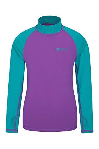 Mountain Warehouse Camiseta térmica para niños - Camiseta térmica con protección UV, Camiseta térmica de Manga Larga para niños, Costuras Planas Morado 5-6 Años