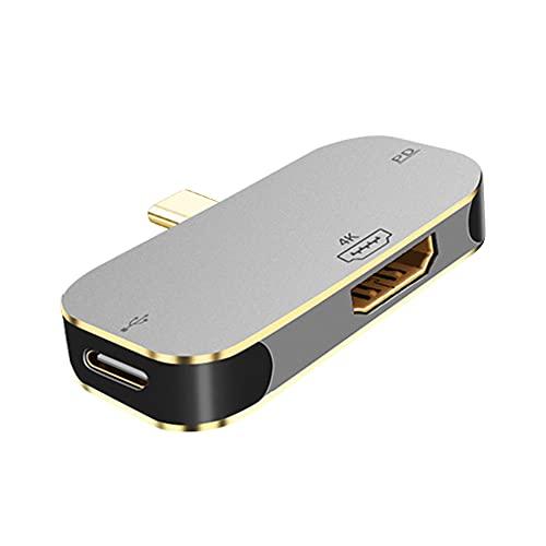 Fuaensm Station d'accueil convertisseur 3 en 1 Type-C vers HDMI compatible avec Android/MacBook/iPad 4K HD 100 W USB 3.0 PD Chargeur rapide pour console de jeu Nintendo Switch, HD + 2 x type C,