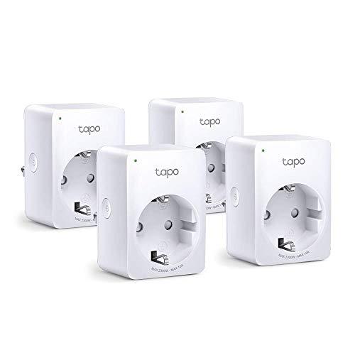 TP-Link Tapo P100(4-Pack) - WiFi Enchufe Inteligente Mini tamaño para Controlar su Dispositivo Desde Cualquier Lugar, sin Necesidad de Concentrador, Funciona con Amazon Alexa y Google Home e IFTTT