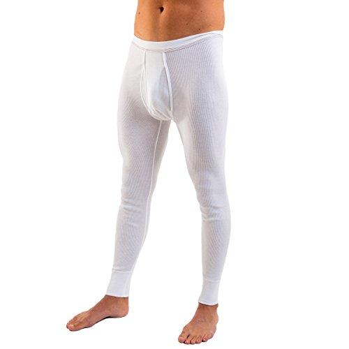 HERMKO 3542 Herren Lange Unterhose Doppelripp mit Eingriff aus 100% Bio-Baumwolle, Größe:D 10 = EU 4XL, Farbe:weiß