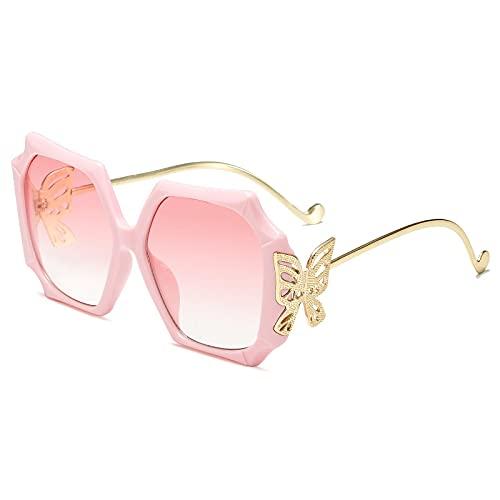 Gafas De Sol Gafas De Sol Cuadradas Mujer Pierna Metálica Mariposa Gafas De Sol Visera Vintage Gafas De Sol Hombre Sombras Gradiente Uv400 C3Pink-Pink
