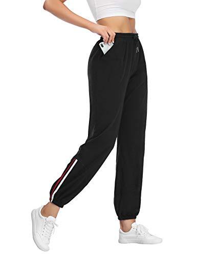 Sykooria Jogginghose Damen mit Streifen Sporthose Damen Lang Trainingshose Baumwolle High Waist für Yoga Laufen Fitness-A-black-L