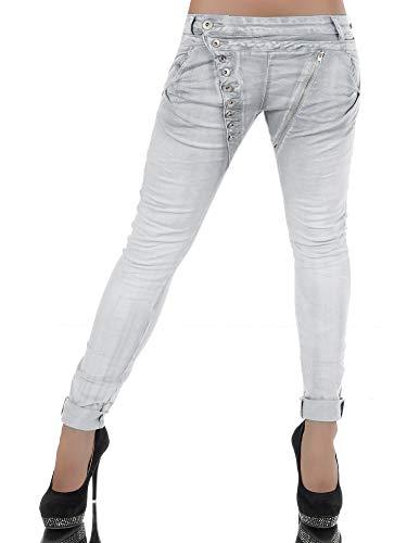 Damen Jeans Hose Boyfriend Damenjeans Harem Baggy Chino Haremshose L368, Farbe: Hellgrau, Größe: 42