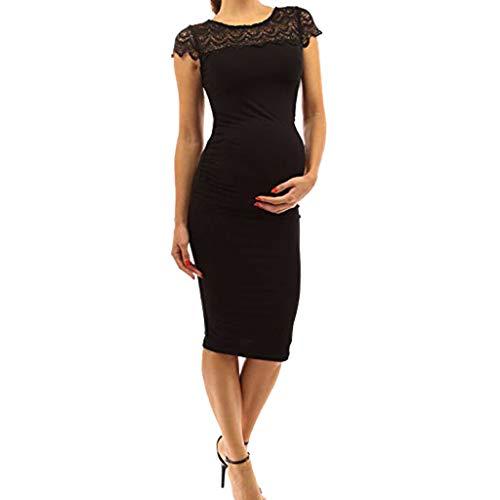 Allence Damen Elegante Häkelspitze Gerafftes Etuikleid mit Rundhalsausschnitt,Umstandskleid Schwangerschafts Kleider,ärmel elegentes Kleid Knielang