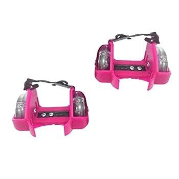 #N/A Durable Kids Heel Wheel Roller Skates Boys Girls Skating Attachable Shoe Trainer Wheels Training Fun Play Equipment - Pink