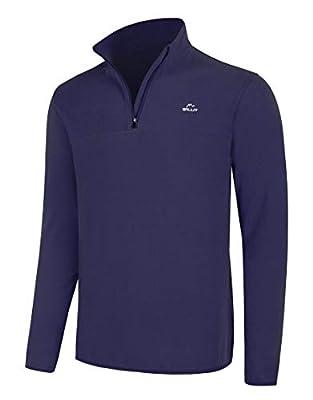 Willit Men's Fleece Pullover Sweatshirt Long Sleeve Hiking Golf Shirt 1/4 Zip Thermal Jacket Lightweight Navy Blue XXL