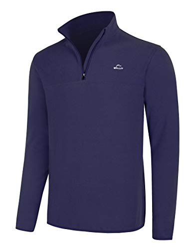 Willit Men's Fleece Golf Pullover Sweaters Quarter-Zip Hiking 1/4 Zip Thermal Jacket Navy Blue XL