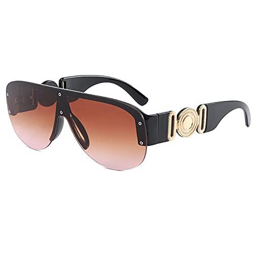 HAOMAO Gafas de sol cuadradas de gran tamaño con gradiente de espejo sin montura para mujeres y hombres, gafas rectangulares Uv400, grandes sombras, negro, marrón