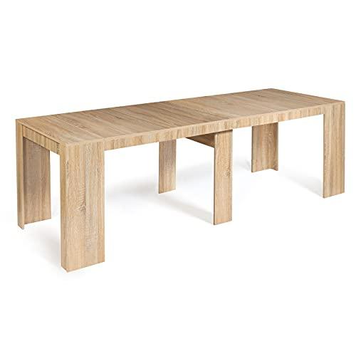 IDMarket - Table Console Extensible Orlando 10 Personnes 235 cm Bois façon hêtre