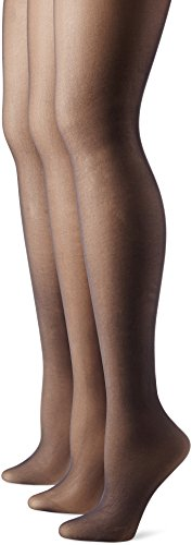No Nonsense Women's Control Top Pantyhose 3-pack, Off Black, B