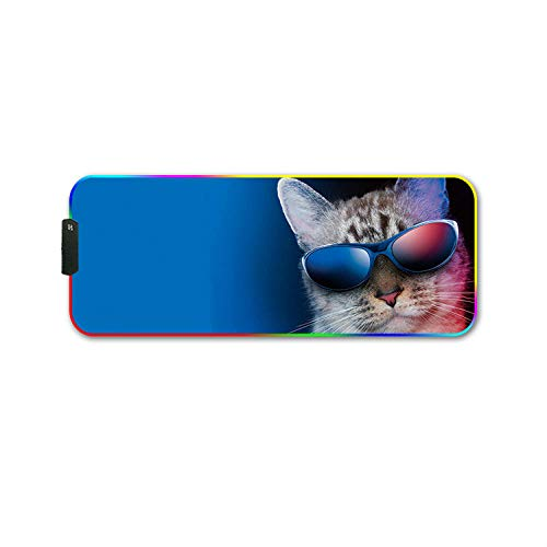 Cat with Sunglasses RGB Gaming Mouse Pad LED Backlit XXL Mouse Mat with Non-Slip Rubber Base for Work,Game,play-700×300 MM