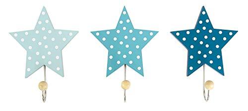 """JaBaDaBaDo \""""Wandhaken Sterne 3er Set blau grau oder rosa Kinder Garderobe Kleiderhaken Junge Mädchen (Blau)"""