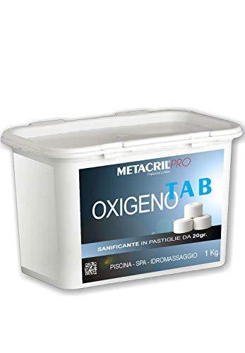 Metacril Oxígeno Tab – Oxígeno activo en tabletas de 20 g – Nuevo formato 1, 2 kg – No cloro para piscina o hidromasaje (Teuco, Jacuzzi, Dimhora, Intex, Bestway, etc.).