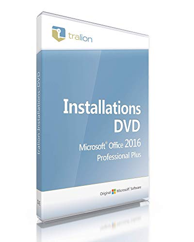 Microsoft® Office 2016 Professional Plus Tralion-DVD, inkl. Key, inkl. Lizenzdokumente, Audit-Sicher, 32bit/64bit, deutsch