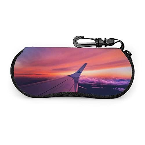 Yuanshan Custodia per occhiali da sole Sky Plane Custodia per occhiali da vista in neoprene ultraleggero, borsa morbida per occhiali con moschettone per donna e uomo