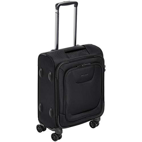 Amazon Basics - Maleta de cabina con ruedas de calidad superior, expandible, con lados blandos y cierre con candado TSA, 46cm, internacional, Negro