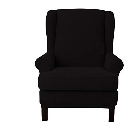 E EBETA Jacquard Sesselbezug, Sessel-Überwürfe Ohrensessel Überzug Bezug Sesselhusse Elastisch Stretch Husse für Ohrensessel (Schwarz)