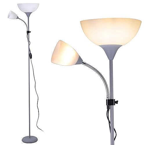 Bakaji Lampada da Terra Piantana Design Moderno In Metallo con Doppio Paralume Braccio Flessibile Luce Direzionabile Altezza 180cm per Casa Salotto Camera letto (Paralume Ovale)