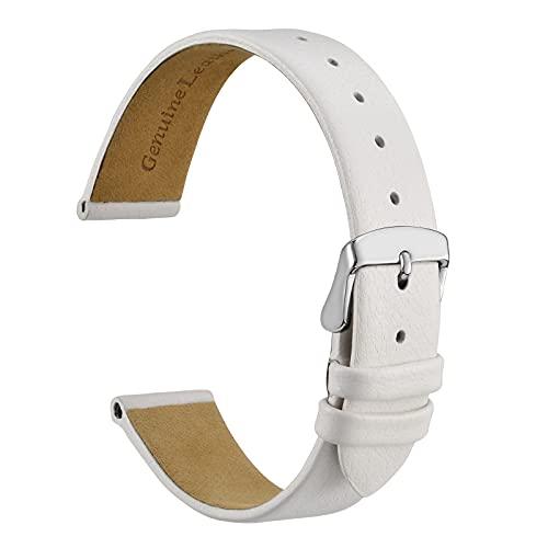 WOCCI Reloj 14 mm, 16 mm, 18 mm, 20 mm, correas de repuesto de cuero genuino elegante con hebilla de acero inoxidable