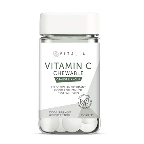 Vitalia  | Vitamin C Chewable Tablets | Chewable Vitamin C Food Supplement to Support Your Immune System | Tasty Orange Flavour | Vegan Friendly - No Animal Ingredients | 95 Vitamin C Tablets