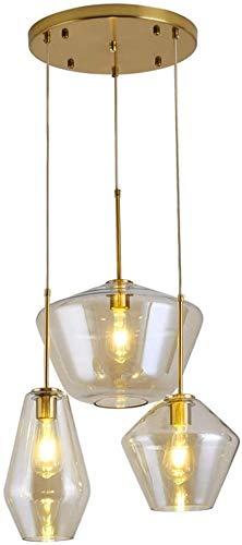 Lámpara industrial pendiente de la vendimia con la bola de cristal de color ámbar-Shade,pendiente de la lámpara luz de techo loft de luz retro moderno de cocina sala de estar (Tamaño: 3 de la